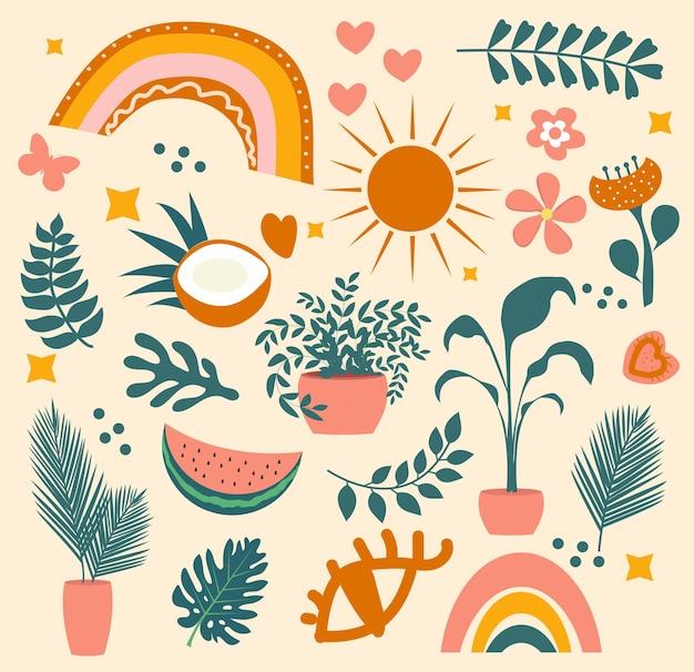 Olá verão boho conjunto abstrato de objetos com folhas de palmeira tropical e frutas, arco-íris. elementos de doodle estético contemporâneo criativo de verão. ilustração vetorial.