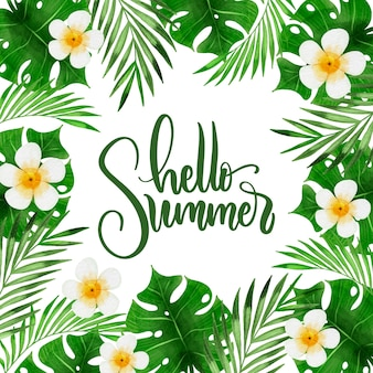 Olá verão cercado por folhas e flores
