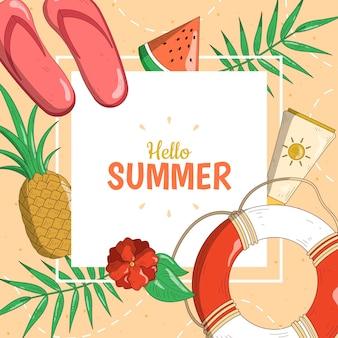 Olá verão com abacaxi e folhas
