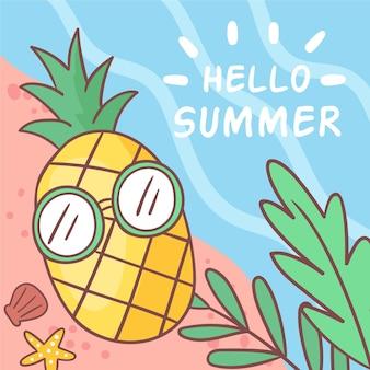 Olá verão com abacaxi na praia