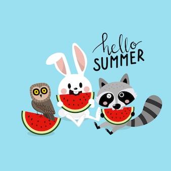 Olá verão com animalzinho fofo