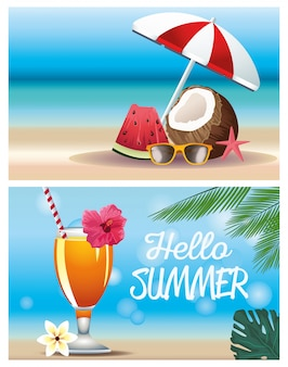 Olá verão com coco e coquetel
