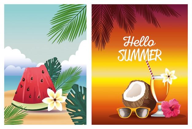 Olá verão com coco e melancia