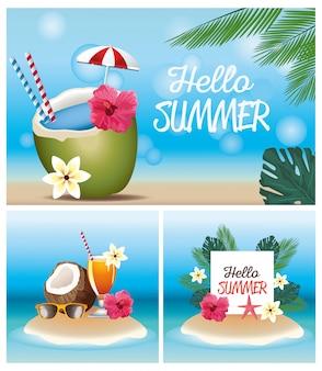 Olá verão com cocos e coquetéis