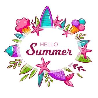 Olá verão com conchas e sorvete