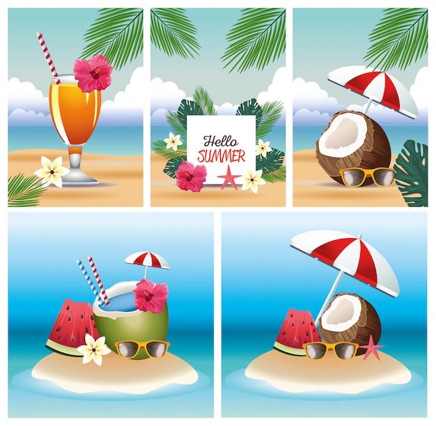 Olá verão com conjunto de cartão de cenas