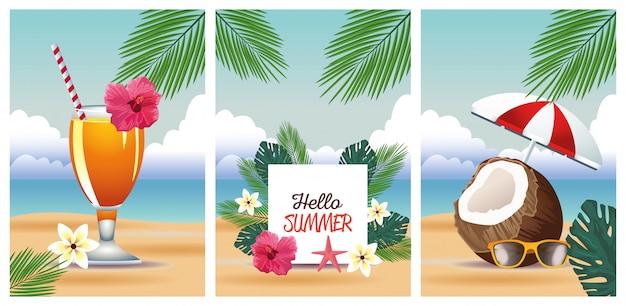 Olá verão com conjunto de cenas tropicais