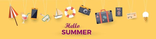 Olá verão com decoração origami pendurado. ilustração vetorial com barco, bagagem, barco à vela, coquetel,