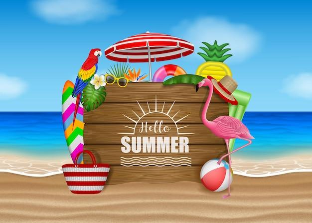 Olá verão com elementos de praia, folhas tropicais, flores e pássaros