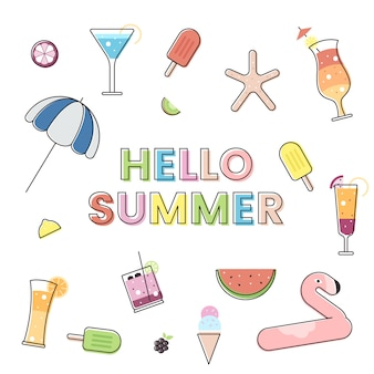 Olá verão com elementos de verão