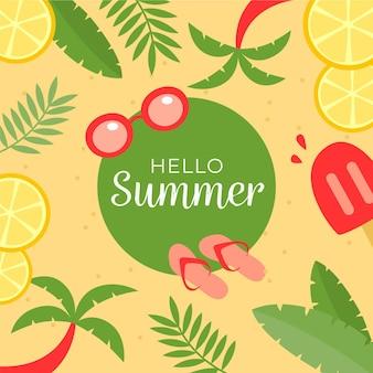 Olá verão com fatias de limão e palmeiras
