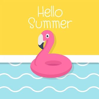 Olá verão com flamingo e piscina