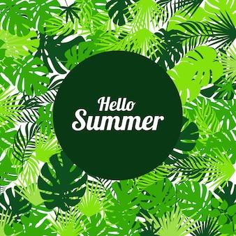 Olá verão com folhas tropicais