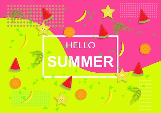 Olá verão com frutas e gelo