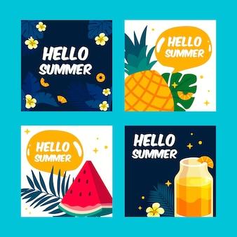 Olá verão com frutas e suco