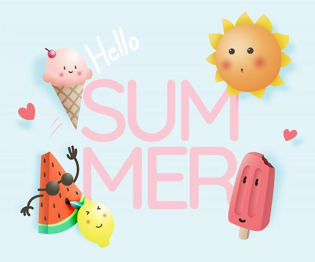 Olá verão com frutas tropicais e sorvete