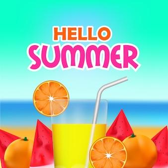 Olá verão com frutas tropicais