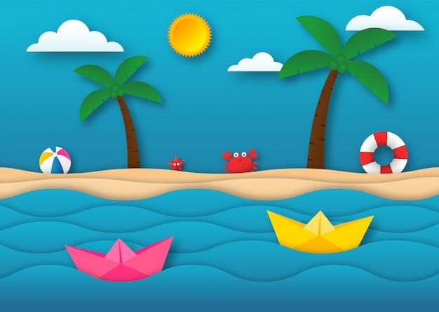 Olá verão com fundo de paisagem de praia. estilo de arte em papel.