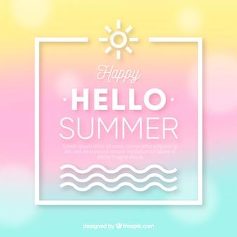 Olá verão com fundo desfocado