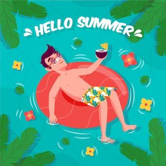 Olá verão com homem relaxante na água