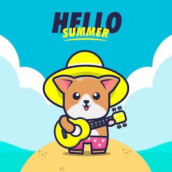 Olá verão com ilustração de desenho animado de cachorro tocar guitarra