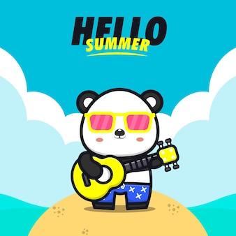 Olá verão com ilustração de desenho animado panda tocar guitarra