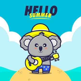 Olá verão com ilustração de desenho animado para tocar guitarra de coala