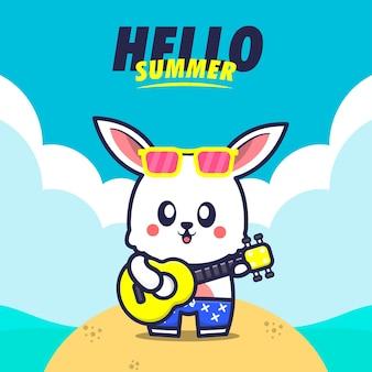 Olá verão com ilustração de desenho animado para tocar guitarra de coelho Vetor Premium