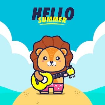 Olá verão com ilustração de desenho animado tocando guitarra de leão