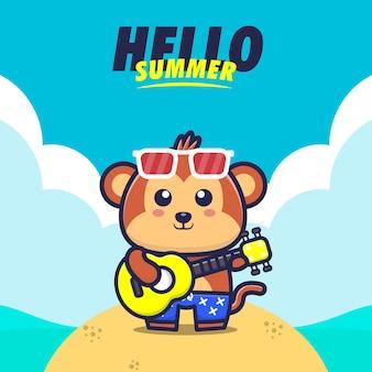 Olá verão com macaco tocando guitarra ilustração dos desenhos animados Vetor Premium