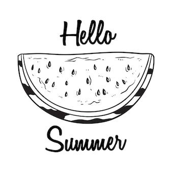 Olá verão com melancia fresca, usando a mão desenhada ou estilo de desenho