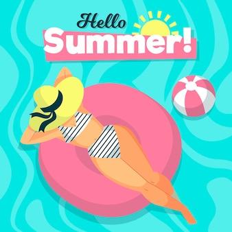 Olá verão com mulher na piscina