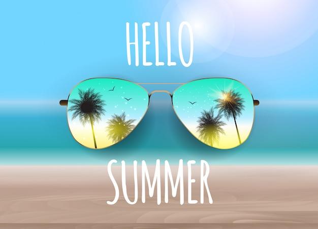 Olá verão com óculos de sol e palmeiras