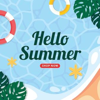 Olá verão com piscina e folhas