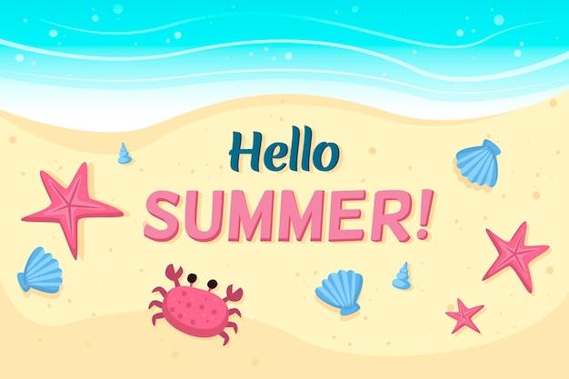 Olá verão com praia e caranguejo