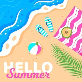 Olá verão com praia e chinelos