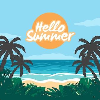Olá verão com praia e vegetação