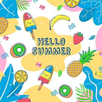 Olá verão com sorvete e abacaxi