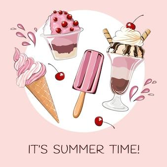 Olá verão com sorvete e cerejas