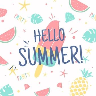 Olá verão com sorvete e frutas