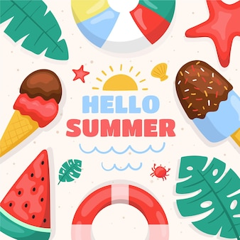 Olá verão com sorvete