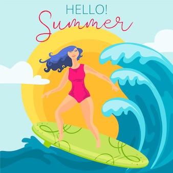 Olá verão com surfista feminina