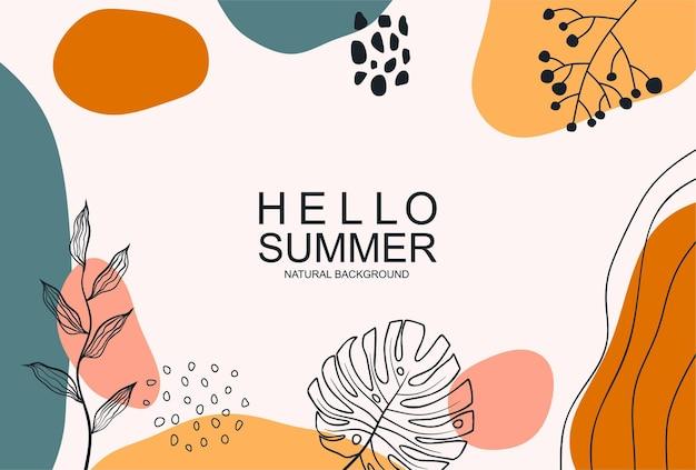 Olá verão com uma folha de arte de linha