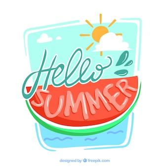 Olá verão, com uma melancia