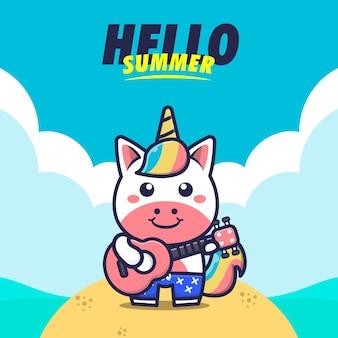 Olá verão com unicórnio tocar guitarra ilustração dos desenhos animados