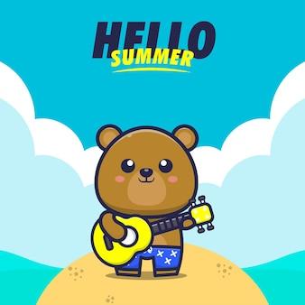 Olá verão com urso tocar guitarra ilustração dos desenhos animados