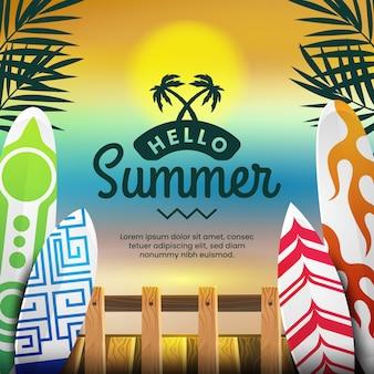 Olá, verão, conceito de pranchas de surf