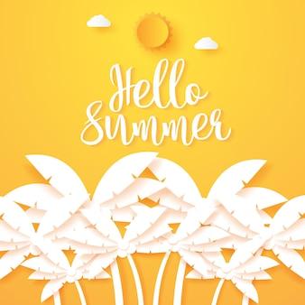 Olá verão, coqueiro com sol e nuvens, estilo arte em papel
