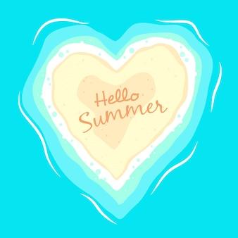 Olá verão coração fundo de praia