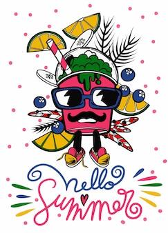 Olá verão de doodle fofo monstro
